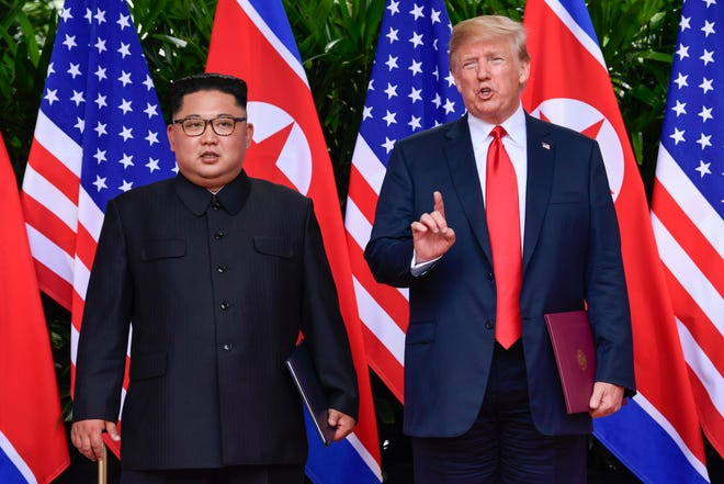 President Donald Trump and North Korea's Kim Jong Un at their meeting in Singapore.