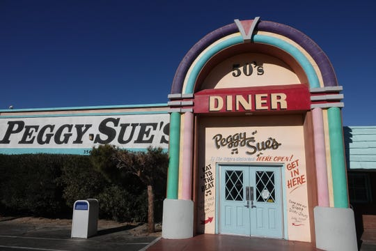 Peggy Sue's diner is exactly halfway between Los Angeles and Las Vegas, in Yermo, California.