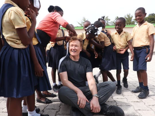 Conan O'Brien on the road in Haiti, in one of his travel specials.