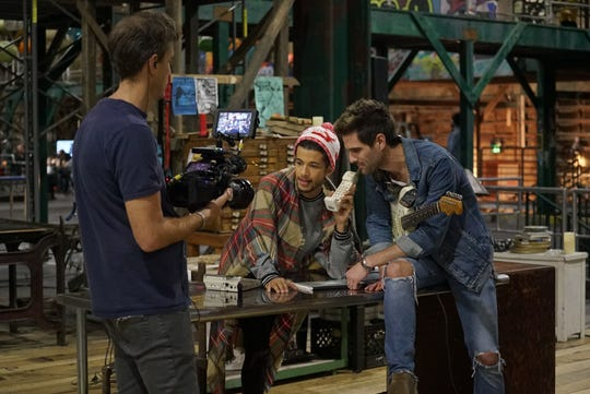 RENT: L-R: Live television director Alex Rudzinski, Jordan Fisher and Brennin Hunt behind the scenes in RENT airing Sunday, Jan. 27 (8:00-11:00 PM ET LIVE/PT TAPE-DELAYED) on FOX. ©2019 Fox Broadcasting Co. CR: Kevin Estrada/FOX