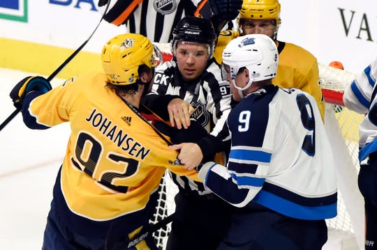 Jan. 18: Nashville Predators center Ryan Johansen, left, was suspended two games for high-sticking the Winnipeg Jets' Mark Scheifele. Lost pay: $86,021.50.