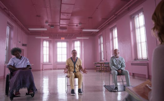 "The lives of Mr. Glass (Samuel L. Jackson, from left), Kevin Crumb (James McAvoy) and David Dunn (Bruce Willis) intertwine in ""Glass."""