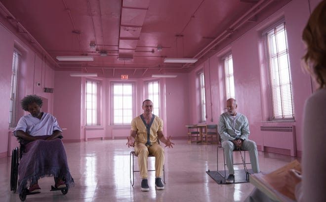 """The lives of Mr. Glass (Samuel L. Jackson, from left), Kevin Crumb (James McAvoy) and David Dunn (Bruce Willis) intertwine in """"Glass."""""""