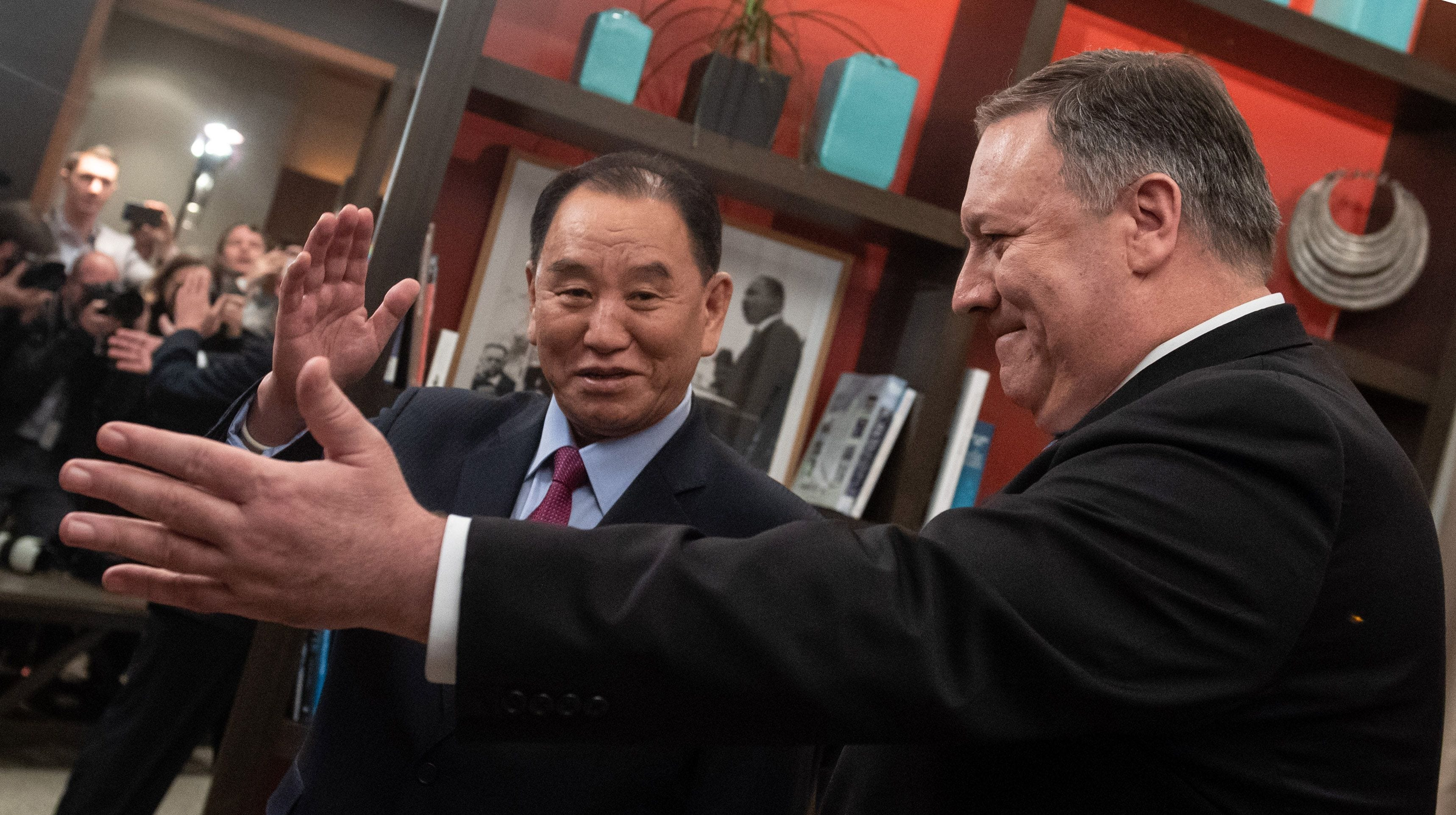 US Secretary of State Mike Pompeo welcomes North Korean Vice-Chairman Kim Yong Chol prior to a meeting in Washington, DC, January 18, 2019.