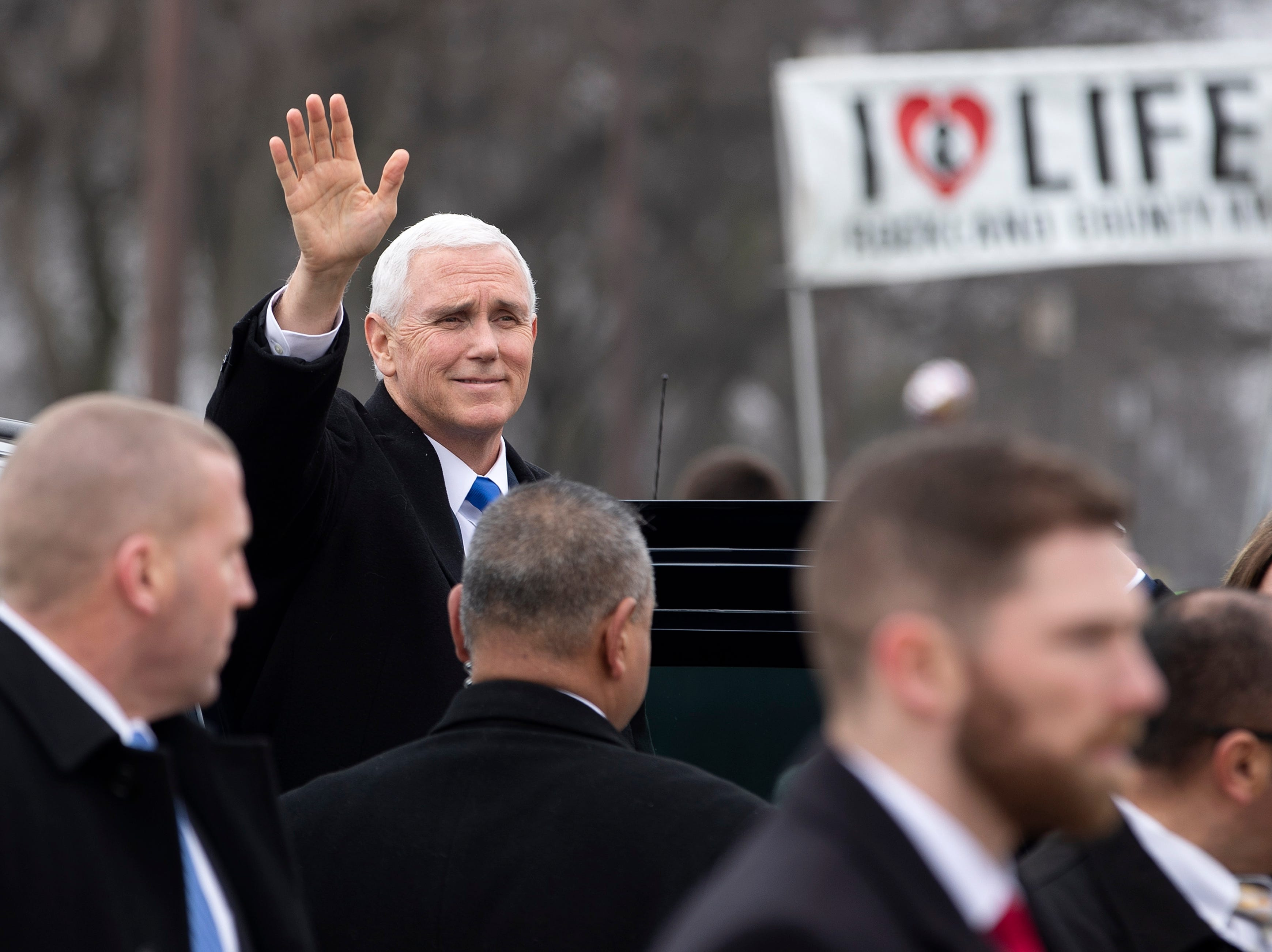 Vice President Mike Pence arrives to speak at the anti-abortion March for Life rally on the National Mall in Washington, DC on Jan. 18, 2019.