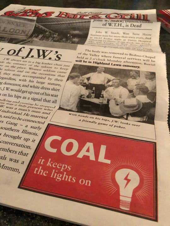 A menu at J.W. Snacks Bar & Grill in Craig, Colorado, makes no secret of the owners' support for coal miners.