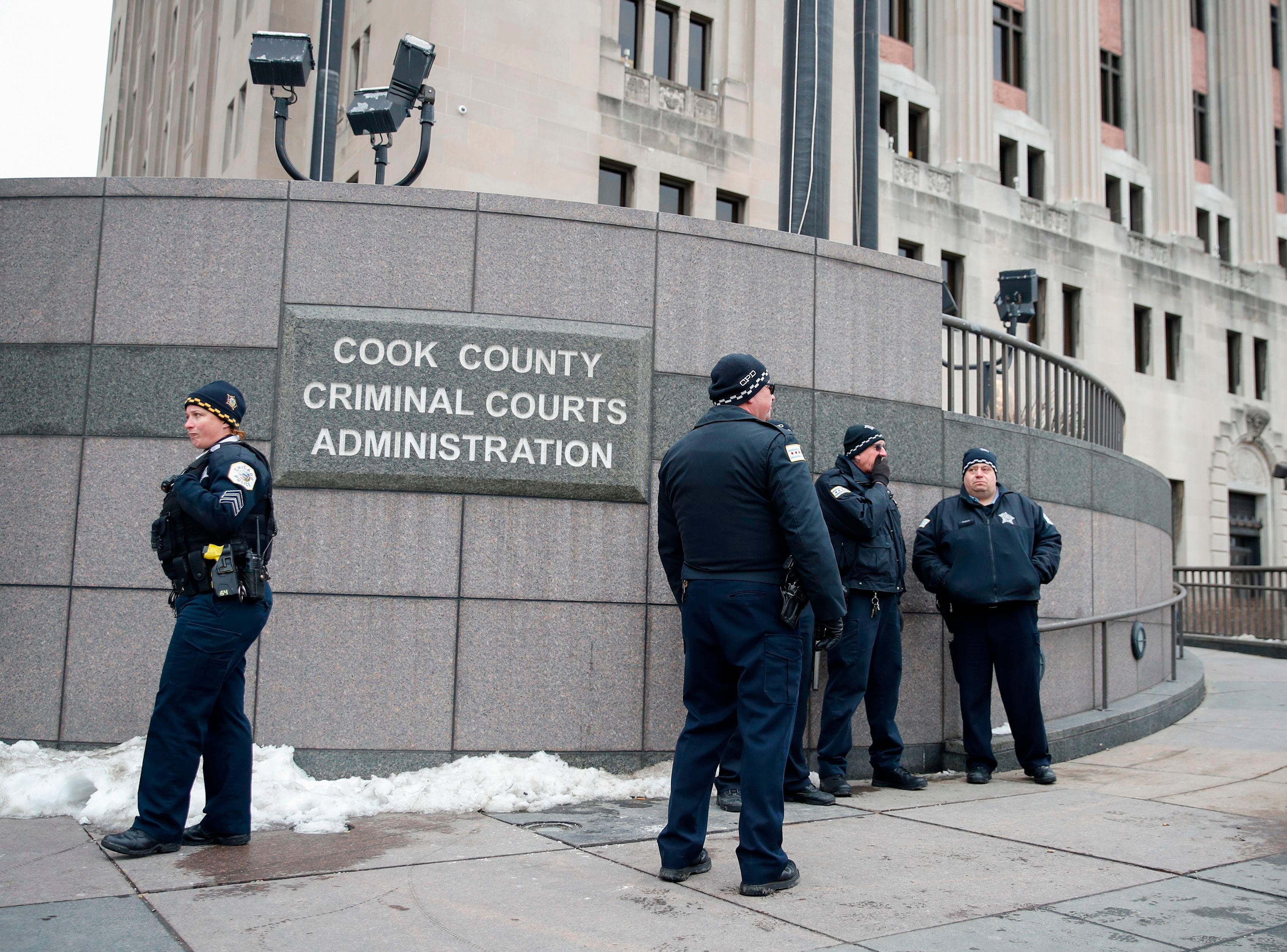 Chicago Police Officers guard the area outside of the Leighton Criminal Courts Building during the sentencing of the Officer Jason Van Dyke on Jan. 18, 2019 in Chicago, Illinois. Van Dyke, a white police officer, is to be sentenced Friday for the fatal shooting of McDonald, and African-American 17-year-old, in 2014.