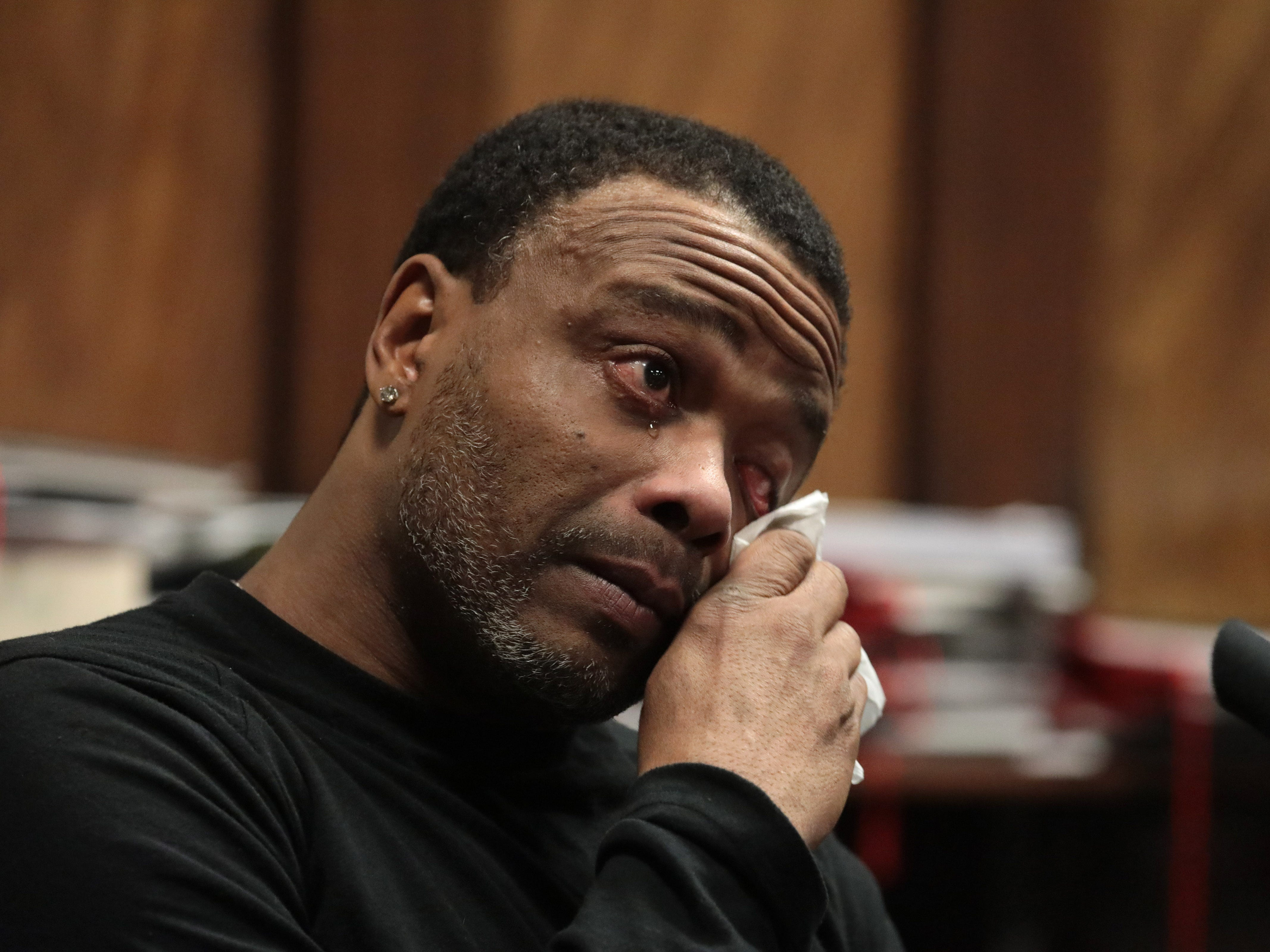 Edward Nance, who alleged he was roughed up by Officer Jason Van Dyke during a traffic stop on the South Side in 2007, testifies at Van Dyke's sentencing hearing at the Leighton Criminal Court Building Jan. 18, 2019 in Chicago, Illinois. Van Dyke was found guilty in October 2018 of second-degree murder and 16 counts of aggravated battery in the on-duty shooting of McDonald.