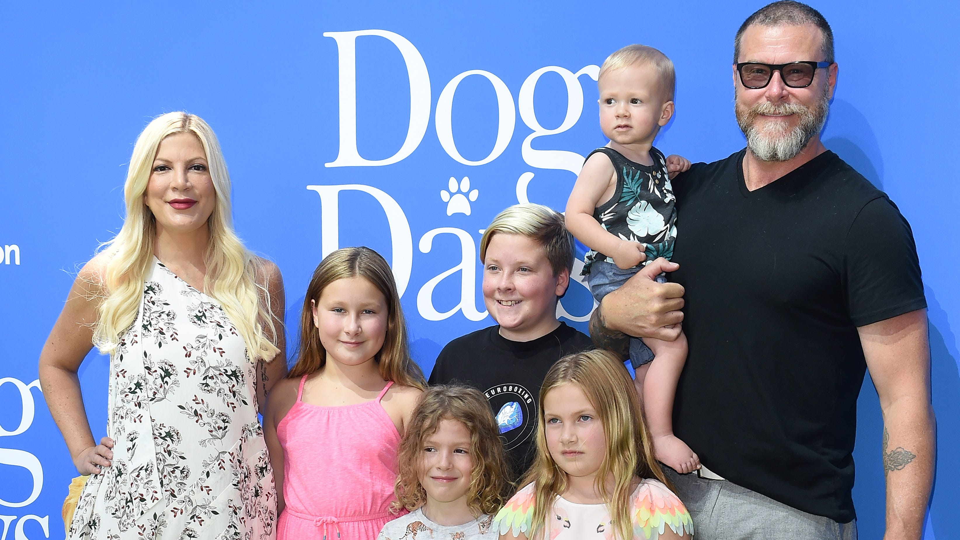 EDITORS' NOTE:  THIS IMAGE IS FOR ONE-TIME RIGHTS USAGE IN USA TODAY AND USATODAY.COM.  MUST NEGOTIATE THE RATE--RAS.  CENTURY CITY, CA - AUGUST 05:  Tori Spelling, Dean McDermott and family arrive at the premiere of LD Entertainment's 'Dog Days' at Westfield Century City on August 5, 2018 in Century City, California.  (Photo by Axelle/Bauer-Griffin/FilmMagic) ORG XMIT: 775204778 [Via MerlinFTP Drop]