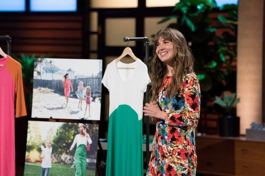 "Whitney Lundeen, a mom from Palo Alto, California, pitched easy-care  play dresses for mothers with young children on ABC's ""Shark Tank."""