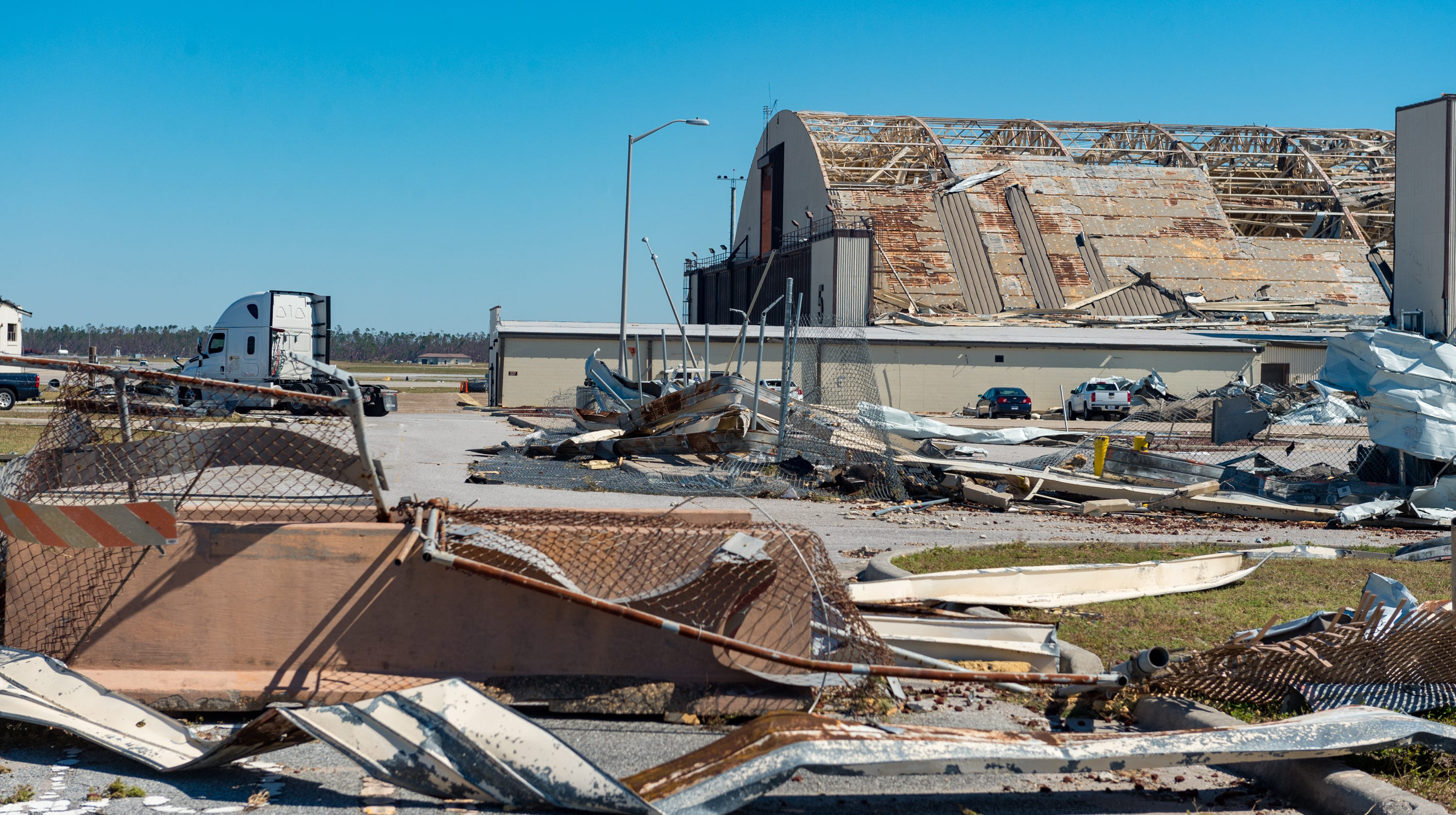 Widespread destruction is left behind in the wake of Hurricane Michael at Tyndall Airforce Base near Panama City, FL.  Saturday, Oct. 13, 2018. (Via OlyDrop)