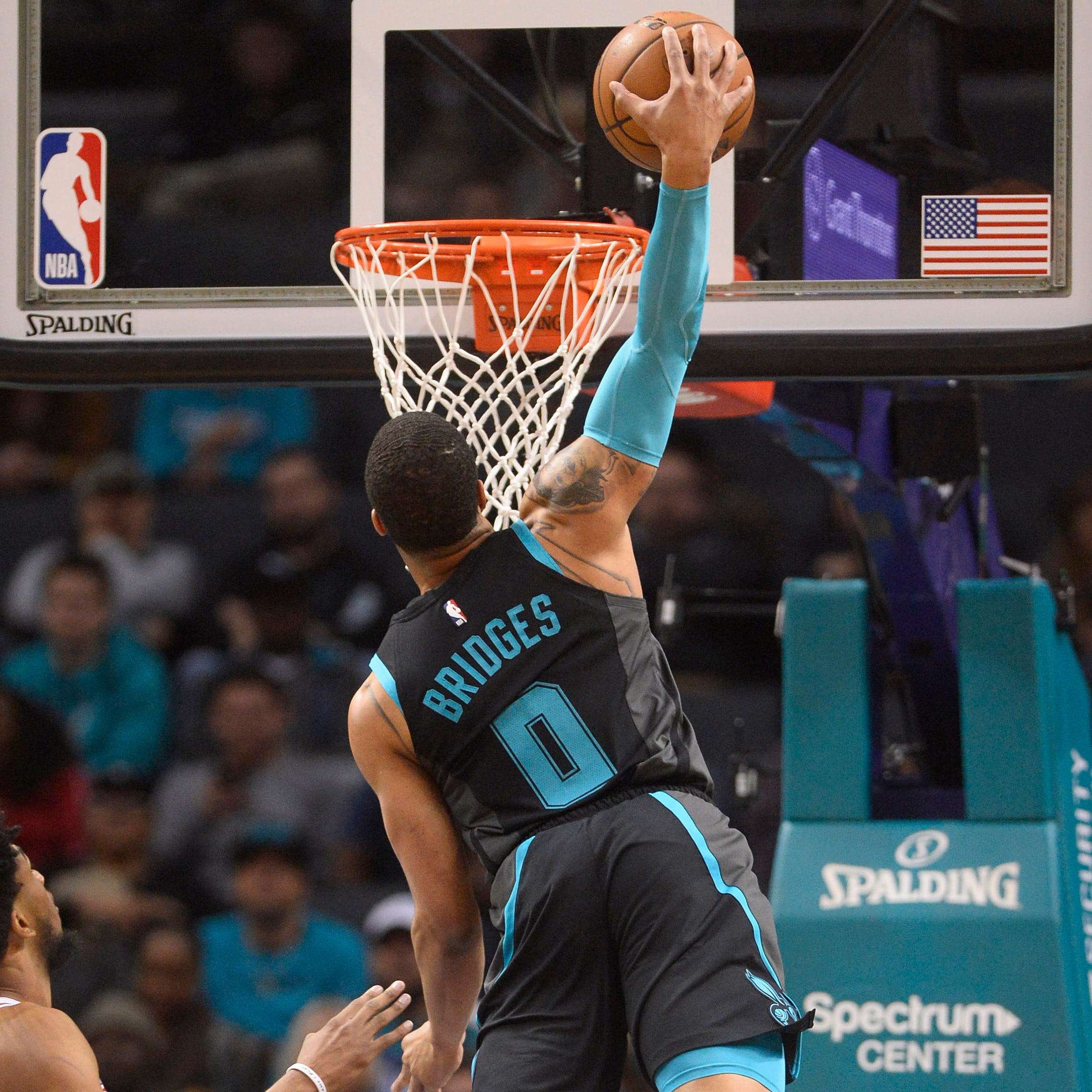 Jan. 17: Hornets forward Miles Bridges soars to the hoop for the thunderous one-handed slam against the Kings.
