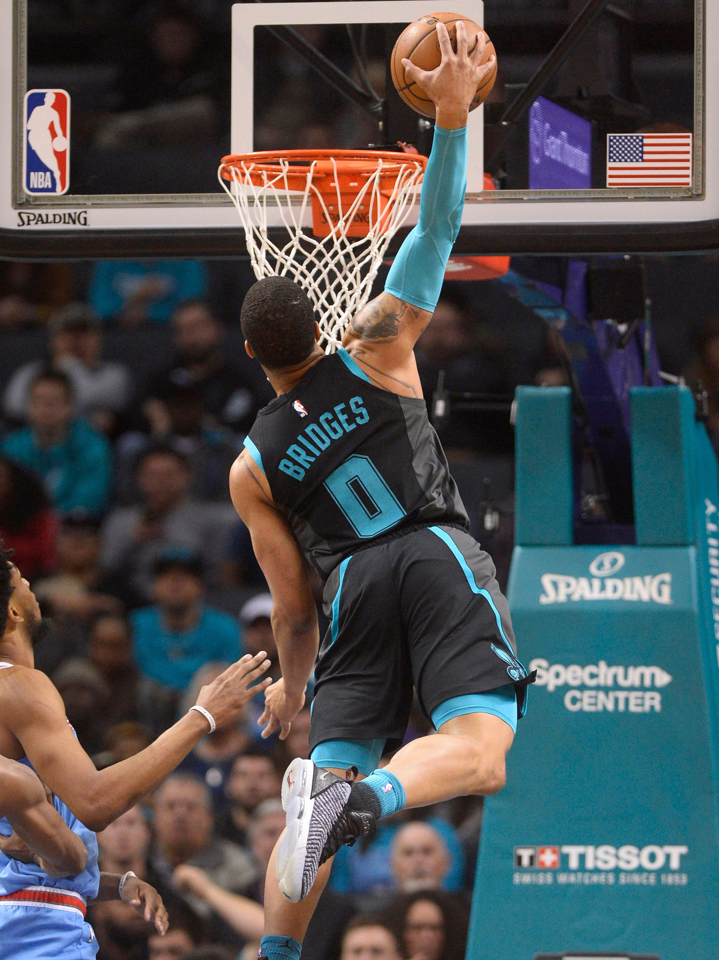Jan. 17: Hornets forward Miles Bridges soars to the hoop for the thunderous one-handed slam against the Kings.