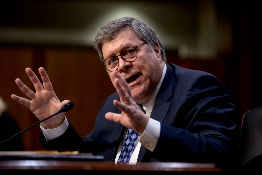 William Barr testifies during a Senate Judiciary Committee hearing.