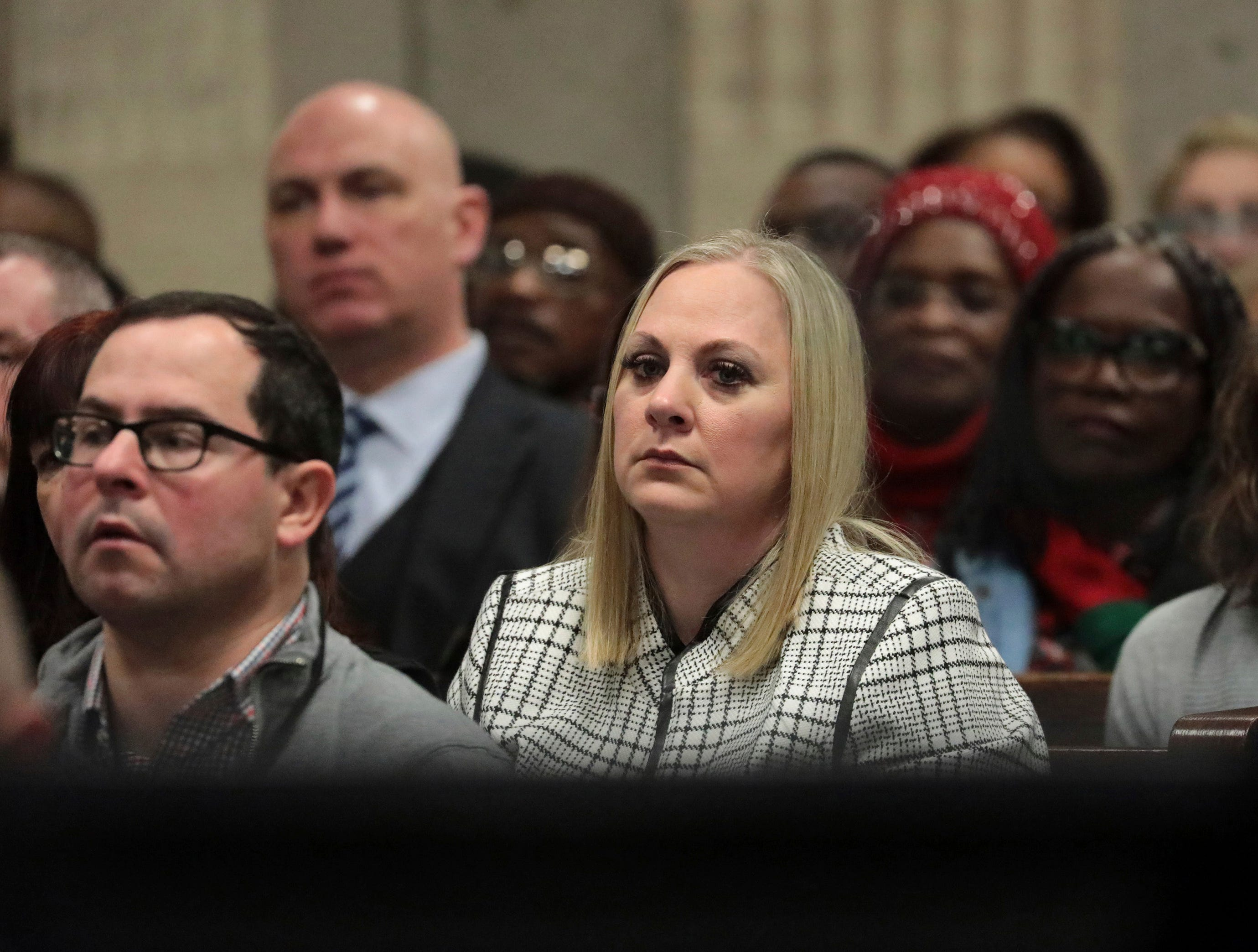 Tiffany Van Dyke wife of former Chicago police Officer Jason Van Dyke attends his sentencing hearing at the Leighton Criminal Court Building, Friday, Jan. 18, 2019, in Chicago, for the 2014 shooting of Laquan McDonald.