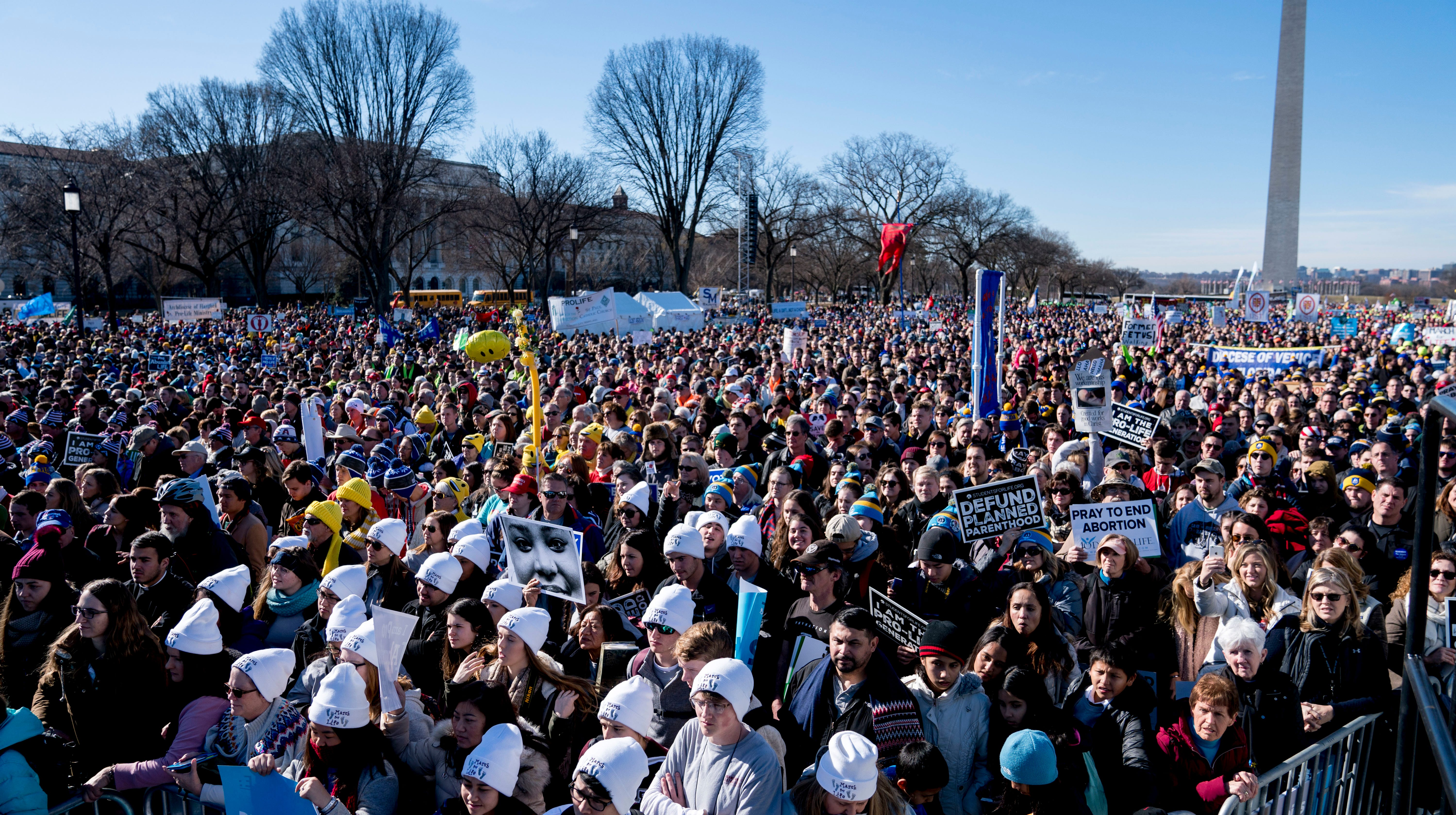 Anti-abortion activists rally on the National Mall in Washington, D.C., on Jan. 19, 2018, during the annual March for Life.