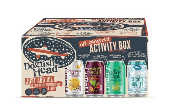 Dogfish Head Craft Brewery has a new line of beers for health-conscious consumers. This 12-pack has three cans each of Namaste White Belgian-style white ale, Super EIGHT gose, SeaQuench Ale and Slightly Mighty IPA, a new IPA weighing in at 95 calories and 3.6 carbs. The box, expected to be in stores in April, also works as a cooler for the beers.