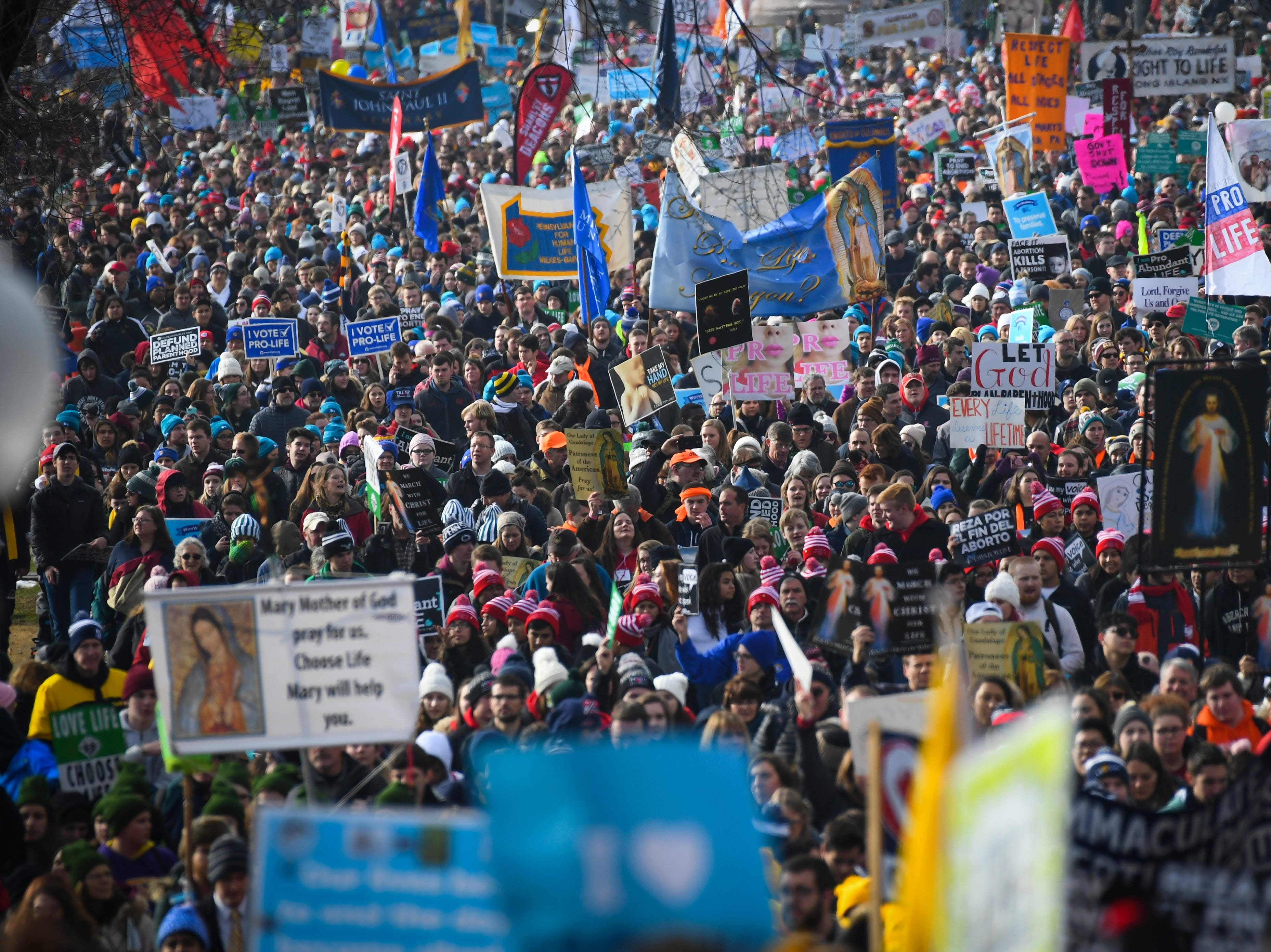 The annual rally protests the practice and legality of abortion.