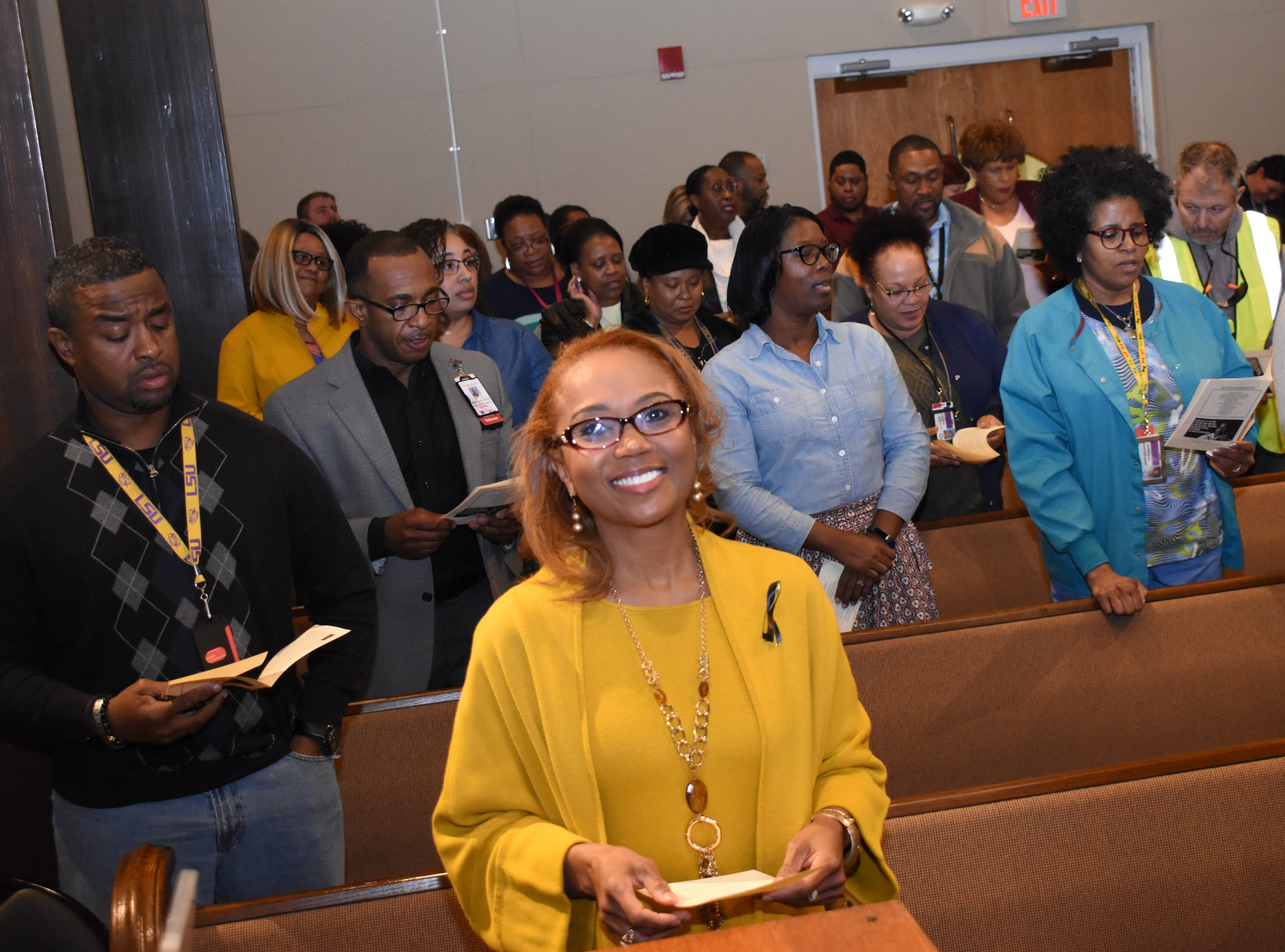 """Carla Buckles Fitzgerald, chief of the sterile processing service at the Alexandria VA Medical Center and a U.S. Army veteran, was the guest speaker for the Dr. Martin Luther King, Jr. service held Friday, Jan. 18, 2019 at the Alexandria VAMC Chapel. Events in the area to mark Martin Luther King Jr. Day include the annual Epsilon Psi Lambda Chapter of Alpha Phi Alpha Fraternity's wreath-laying at 4:30 p.m. Sunday at the Martin Luther King Jr.Êmonument located at the corner of Murray and Martin Luther King Jr.Ê Drive. Rev. J.L. Franklin of Lake Charles and president of the Southwest Louisiana Community Coalition for Action and the Louisiana Community Coalition for Action Inc. will be the guest speaker. On Monday, activities began at 6:30 a.m. with a prayer breakfast at Alexandria Convention Hall in downtown Alexandria. The annual parade begins at 10 a.m. on Bolton Avenue and proceeds down Jackson Street to the Alexandria Edward G. """"Ned"""" Randolph Riverfront Center where a noon day rally will be held. Recently elected Alexandria mayor Jeff Hall and Peabody Magnet High School head basketball coach and athletic director Charles Smith are the grand marshals. A business expo will be held from 2-5 p.m. and at 4 p.m., the D.R.E.A.M. Spelling Bee Finale will start. Both are also at the Riverfront Center. At 6 p.m., """"King in the Wilderness"""" will screen at the Coughlin-Saunders Performing Arts Center."""