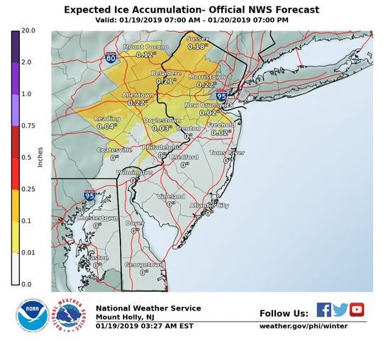Expected ice accumulation