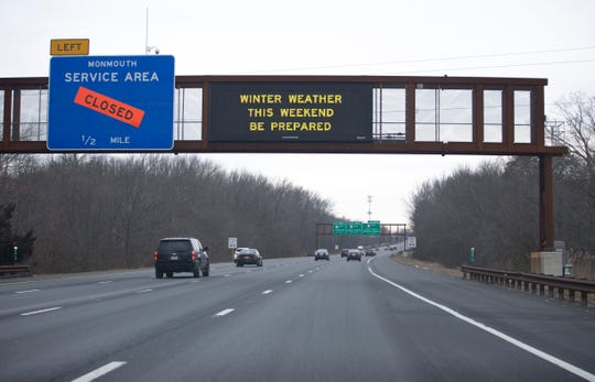 Signage on the Garden State Parkway in Wall warns drivers of an upcoming winter storm. Saturday, Jan. 19, 2019
