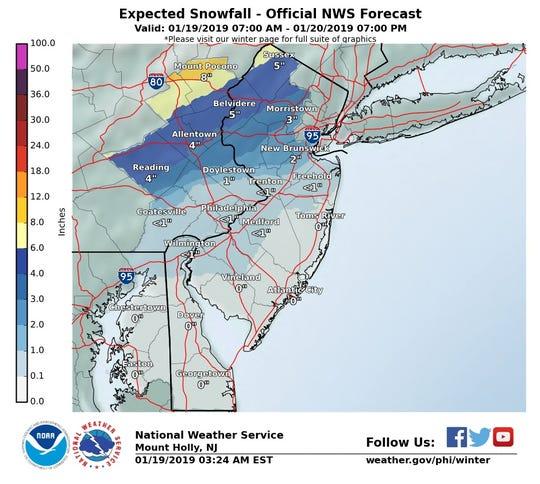 Expected snow accumulation