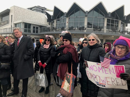 Rep. Frank Pallone, D-NJ, left, was among a few hundred people taking part in the Women's March on the Asbury Park boardwalk on Saturday.