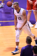HSU's Jalen Terry (23) reacts to scoring and being fouled against Sul Ross State at the Mabee Complex on Saturday, Jan. 19, 2019.