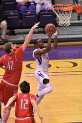 Hardin-Simmons guard Keenan Holdman (5) goes up and lays it in against Sul Ross State at the Mabee Complex on Saturday, Jan. 19, 2019.