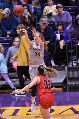 Hardin-Simmons' Karlea Ritchie (14) shoots a 3-pointer against Sul Ross State at the Mabee Complex on Saturday, Jan. 19, 2019.