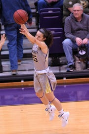 HSU's Maria Fernandez (35) takes a 3-pointer against Sul Ross State at the Mabee Complex on Saturday, Jan. 19, 2019.