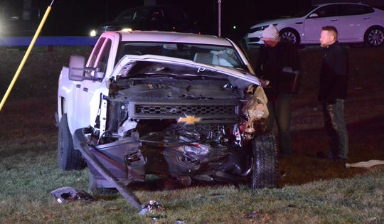 The driver of this pick-up sought his own treatment after colliding with a car fleeing police responding to a shoplifting complaint.
