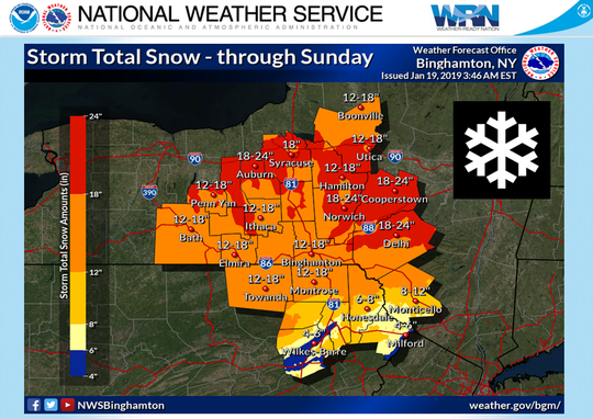 National Weather Service estimates 12 to 18 inches of snow will fall on the Southern Tier.