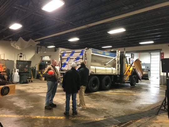 A Department of Transportation plow leaves the Broome County facility ahead of the winter storm Saturday.