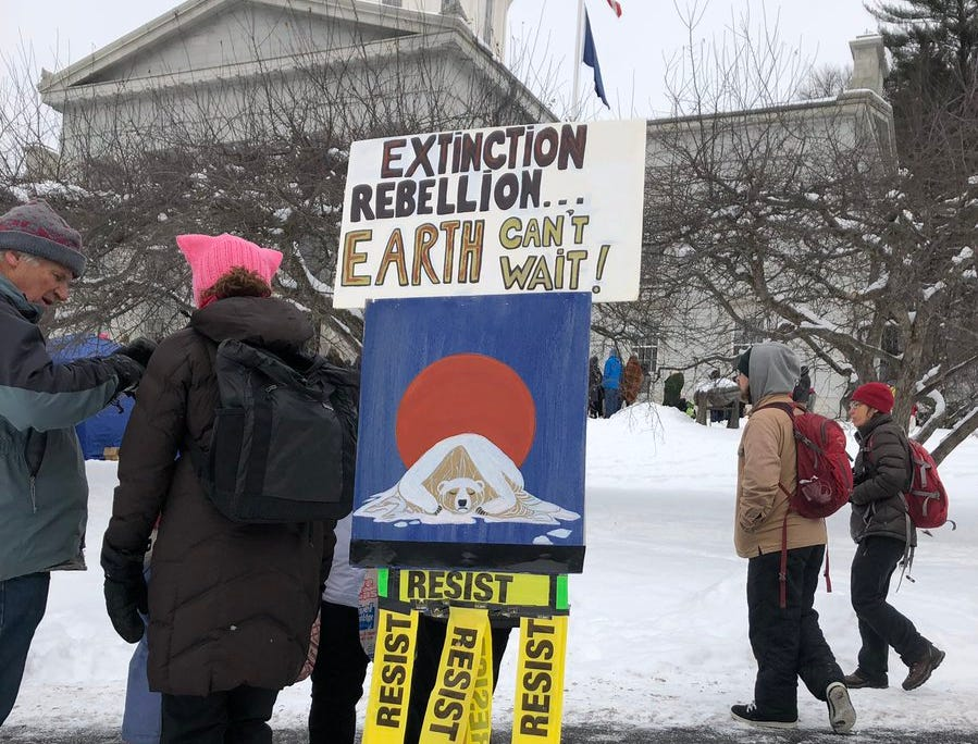 A sign planted on the Statehouse grounds in Montpelier, Vt. delivers one of the many environmental messages seen at the Women's March on Saturday, Jan. 19, 2019.