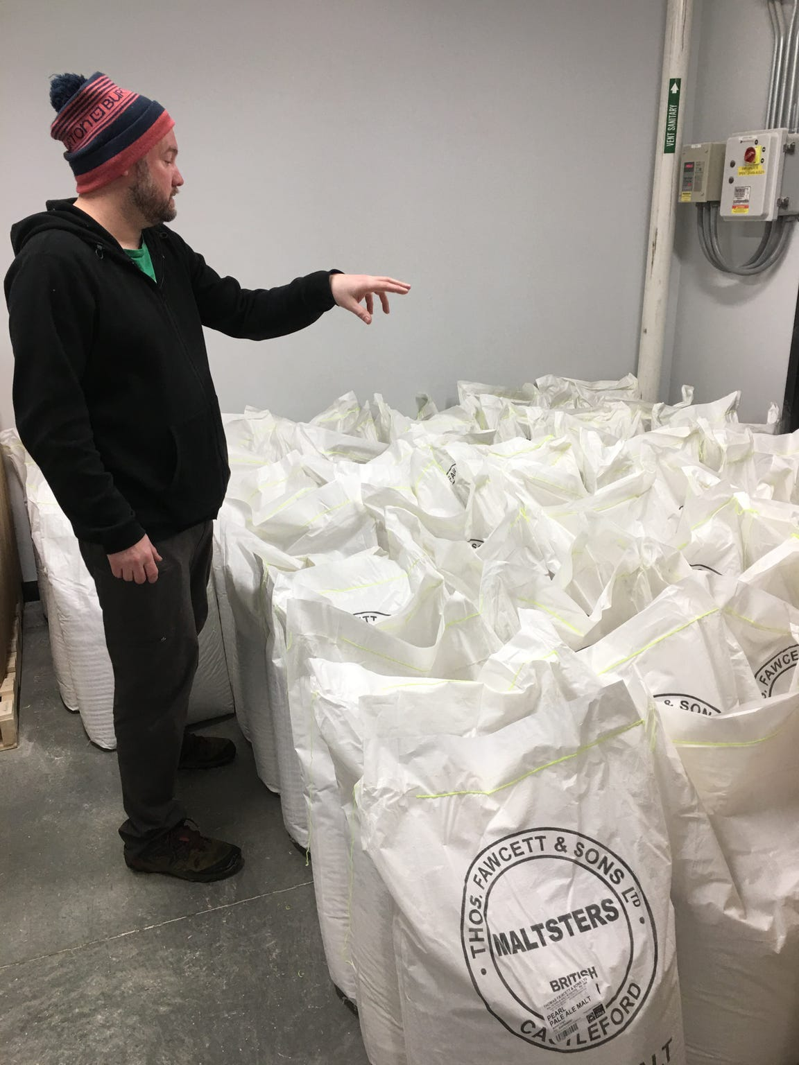 Jim Conroy counts bags of malt for his upcoming brew at The Alchemist in Stowe on Thursday, Jan. 17, 2019.