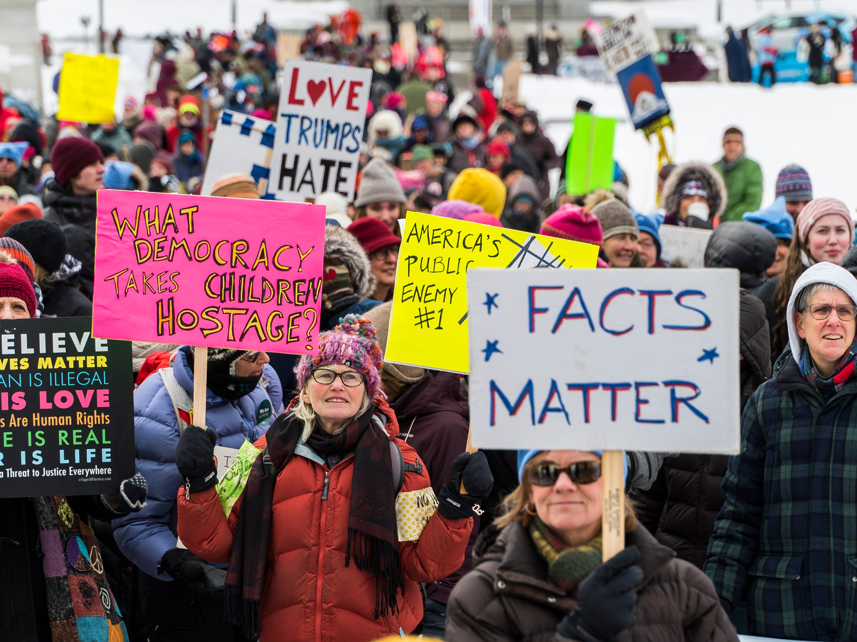 According to police, about 700 to 1000 people attended the Women's March Vermont rally in Montpelier on Saturday, Jan. 19, 2019.