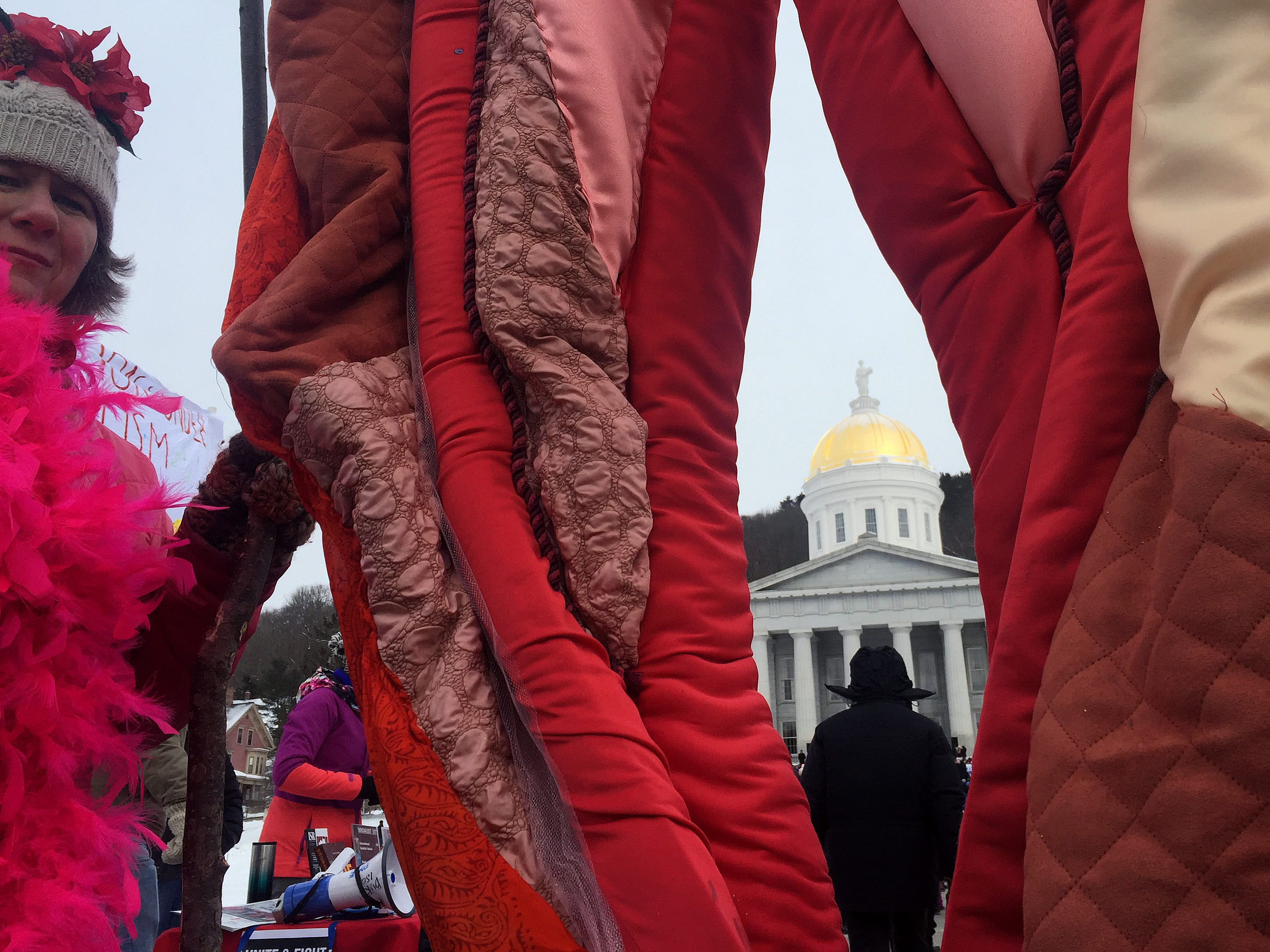 "Women from local chocolate company Nutty Steph's based in Middlesex, Vt., display the ""Rebirth Portal"" at the Women's March Vermont rally in Montpelier on Saturday, Jan. 19, 2019. According to police, about 700 to 1000 people attended the rally."
