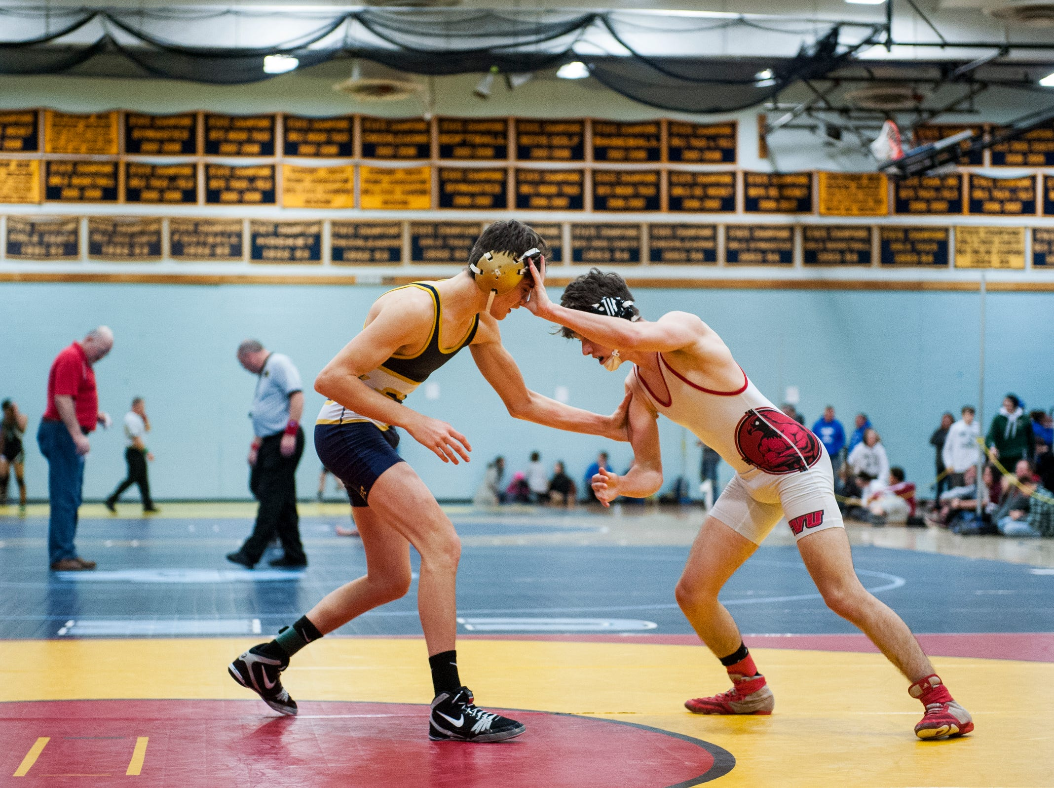 CVU's Lucas Brown wrestles with Essex's Calvin Leo during the Michael J. Baker Essex Classic wrestling tournament at Essex High School on Friday afternoon January 18, 2019 in Essex, Vermont.