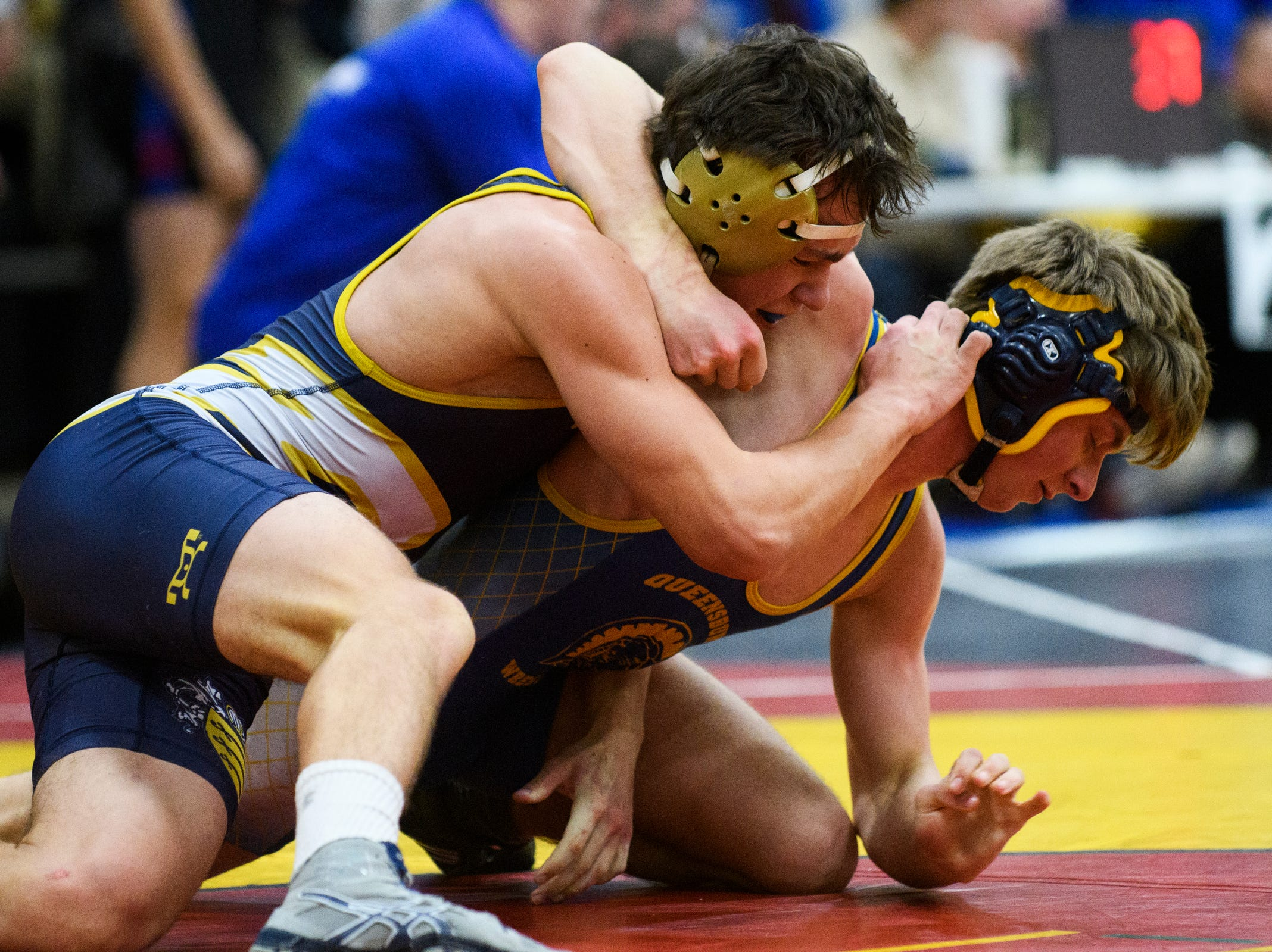 Essex's Gill Stawinski tries to pin down Queesbury's Ryan Lappan during the Michael J. Baker Essex Classic wrestling tournament at Essex High School on Friday afternoon January 18, 2019 in Essex, Vermont.