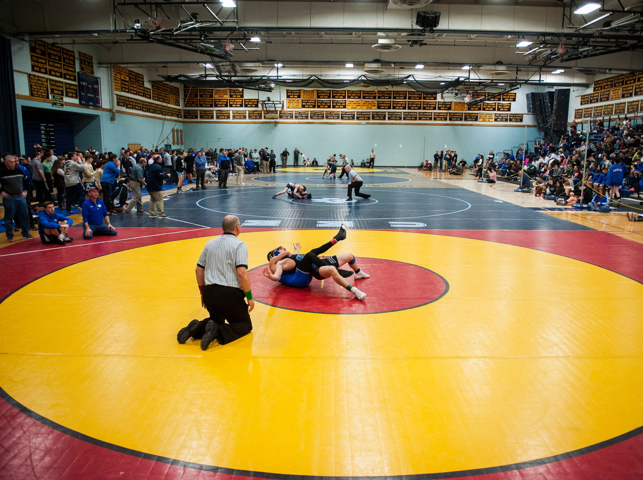 Wrestlers compete during the Michael J. Baker Essex Classic wrestling tournament at Essex High School on Friday afternoon January 18, 2019 in Essex, Vermont.