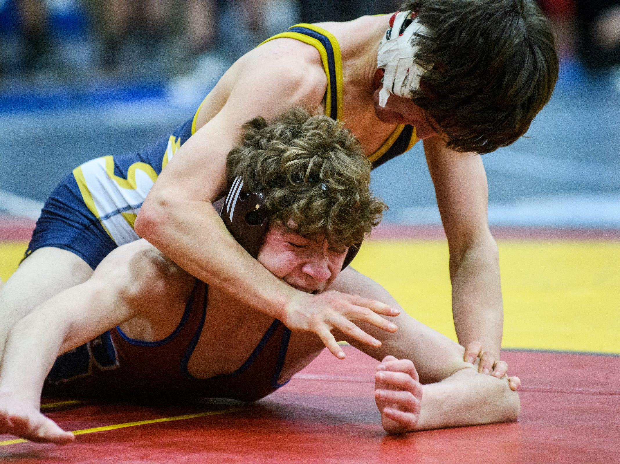 Essex's Ben Stewart wrestles with Spaulding's Hunter Roya during the Michael J. Baker Essex Classic wrestling tournament at Essex High School on Friday afternoon January 18, 2019 in Essex, Vermont.