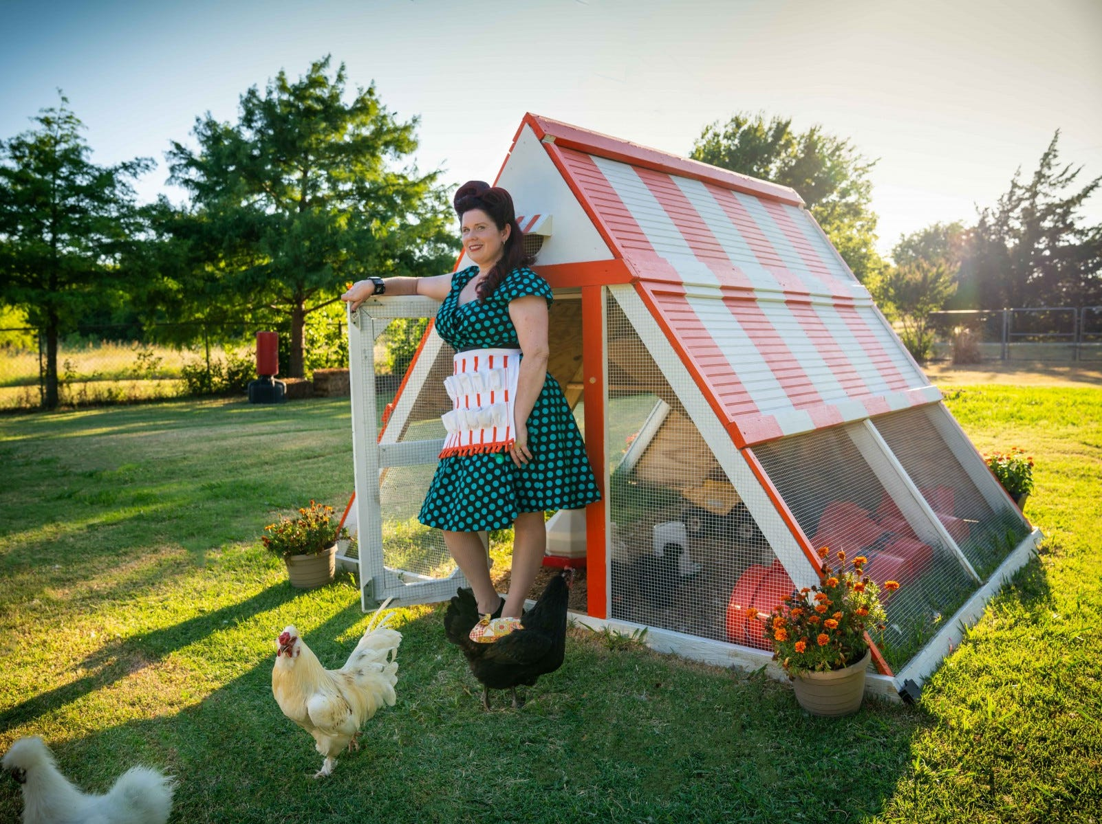 Fort Worth resident Trisha Ruiz made a Whataburger-themed chicken coop in her backyard for her chickens. The coop came into fruition when Ruiz joked  to her husband that she would never be close to a Whataburger again after she moved to the country.