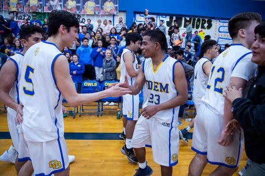 Odem' celebrates their 48-30 win over Aransas Pass at Odem High School on Friday, January 18, 2019. Odem won 48-30.