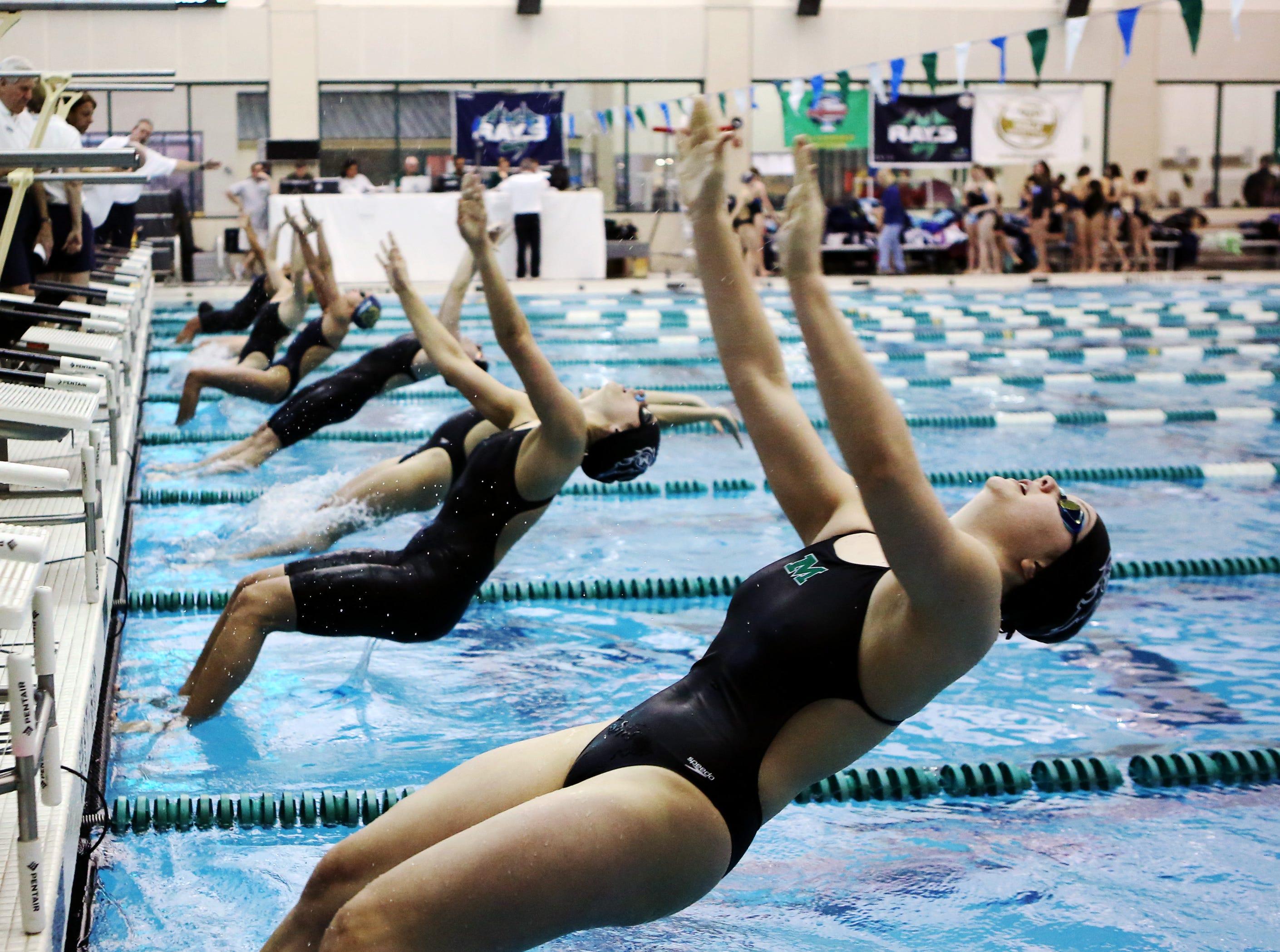 Emily Yu from Mason swims the 200-yard backstroke at the SW Ohio Swim Classic at Mason.