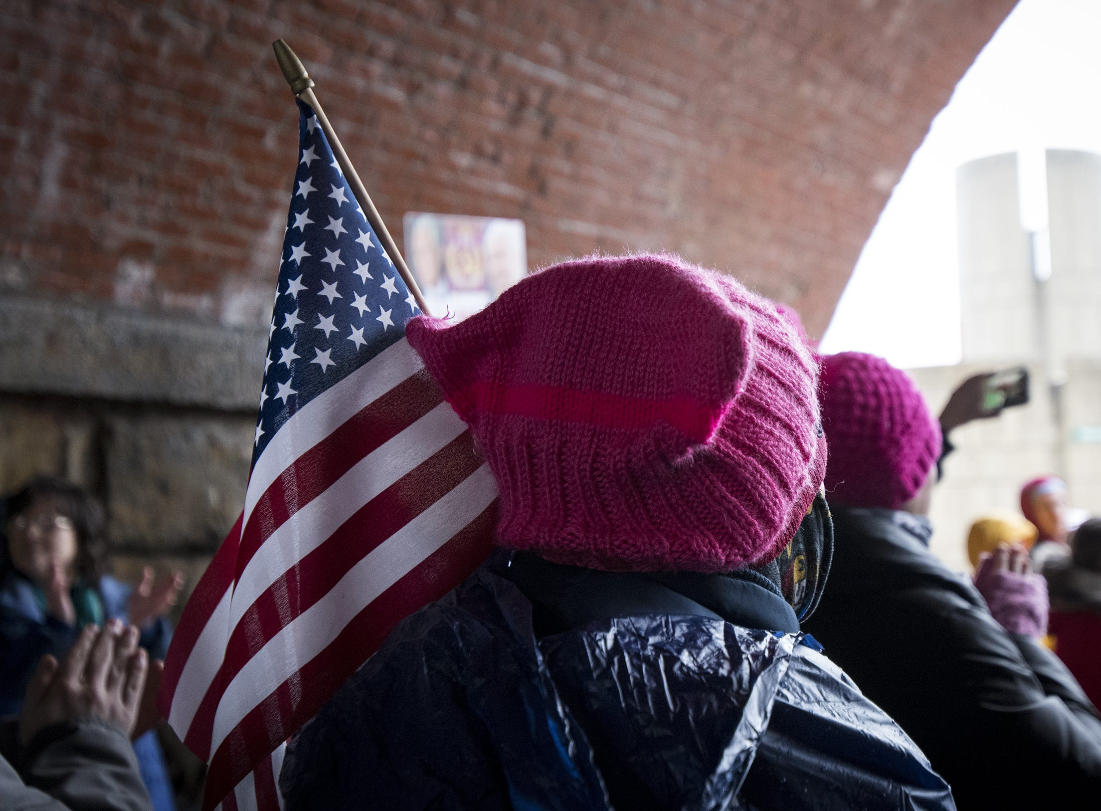 Demonstrators gather at Sawyer Point Park for the 2019 Women's March organized by the Cincinnati chapters of Socialist Alternative, Democratic Socialists of America and the International Socialist Organization Saturday, January 19, 2019 in Cincinnati, Ohio.