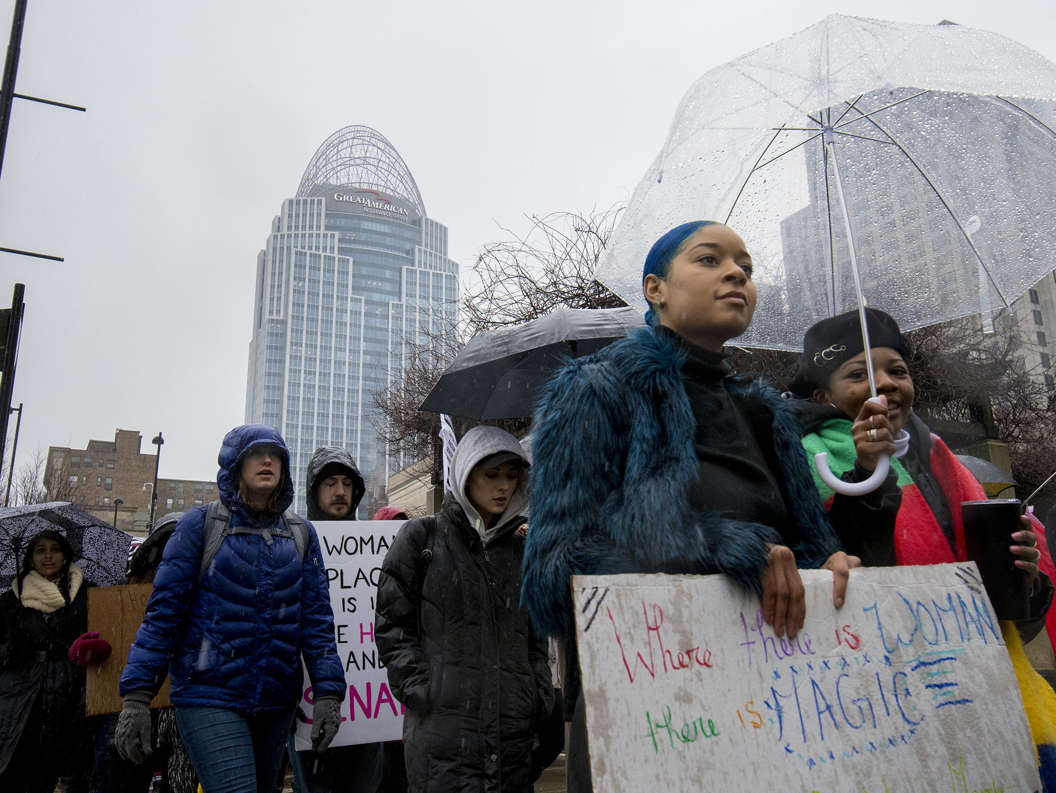 Demonstrators make heir way up Broadway Street during the 2019 Women's March organized by the Cincinnati chapters of Socialist Alternative, Democratic Socialists of America and the International Socialist Organization Saturday, January 19, 2019 in Cincinnati, Ohio.