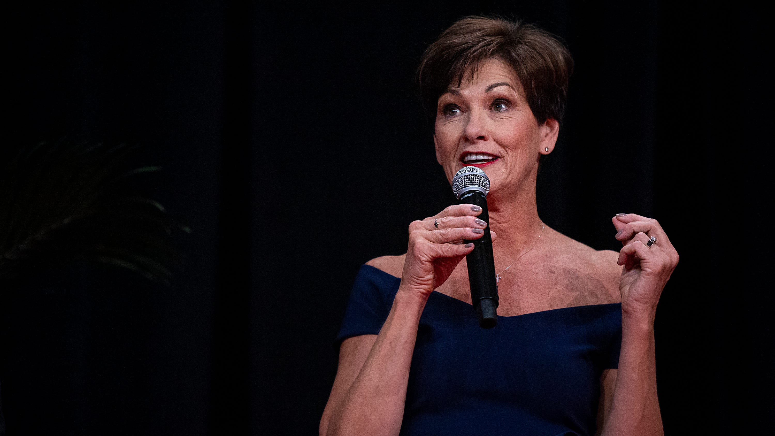 Gov. Kim Reynolds gives a short speech at her inaugural ball on Friday, Jan. 18, 2019, in Des Moines.