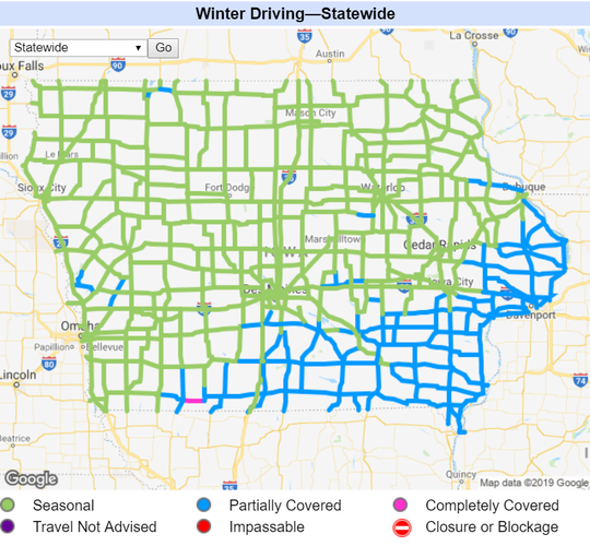 Conditions of Iowa roads as of 5:30 p.m. Saturday, Jan. 19, 2018. Blue shading indicates the road is partially covered.