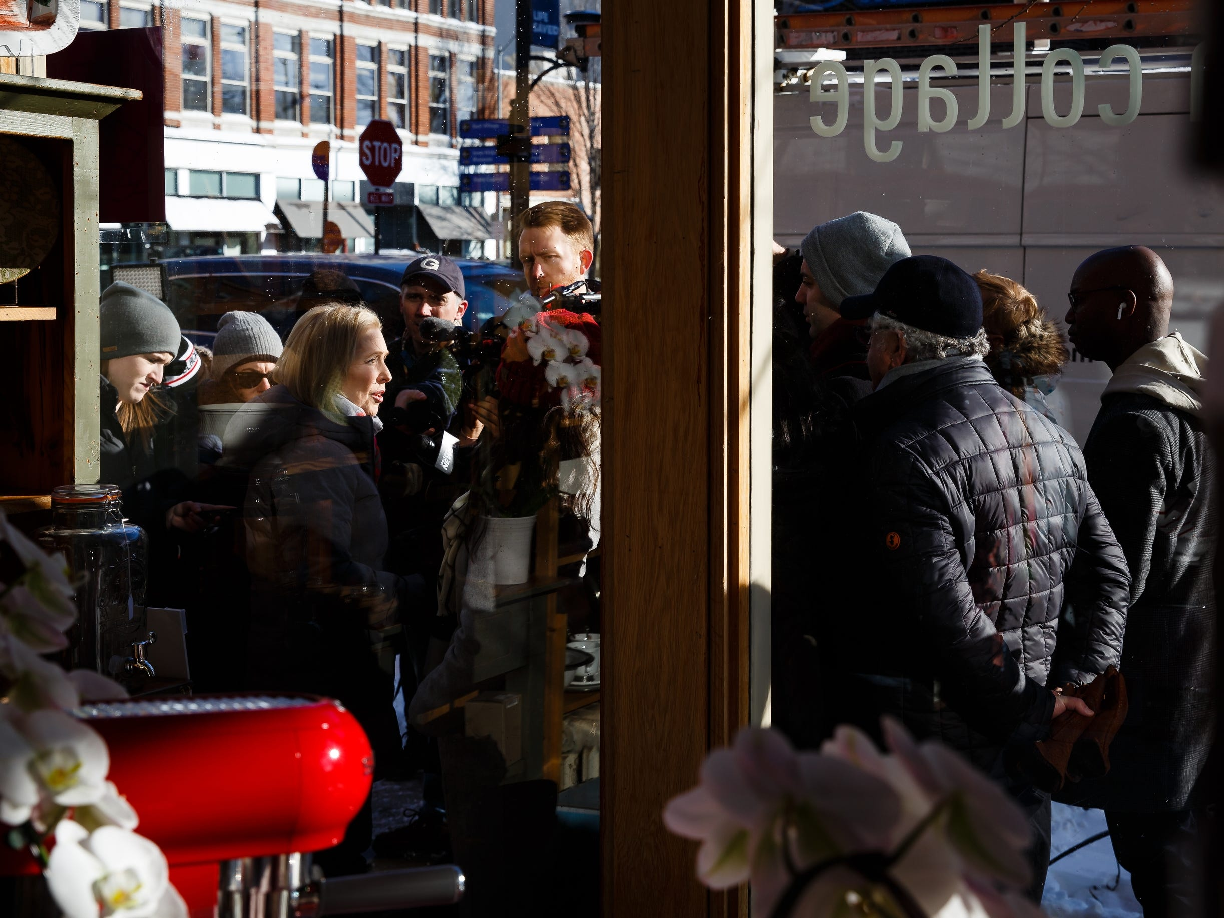 After baking cookies at Kitchen Collage, Sen. Kirsten Gillibrand of New York speaks to members of the press following her walking tour of the East Village on Saturday, Jan. 19, 2019, in Des Moines.